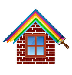 Painting brick house vector