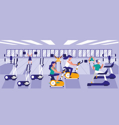 People practicing sport in gym vector