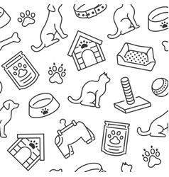 pet shop seamless pattern with flat line vector image