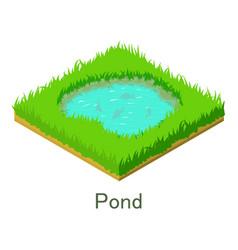 Pond icon isometric style vector