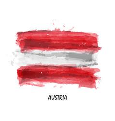 Realistic watercolor painting flag austria vector