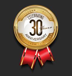retro vintage style anniversary golden design 30 vector image