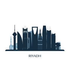 Riyadh skyline monochrome silhouette vector