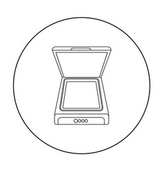 Scanner icon in outline style isolated on white vector