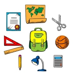 School and education objects icons vector