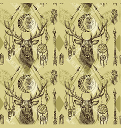 Seamless pattern deer vector