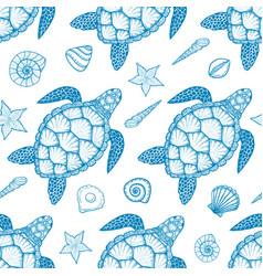 Seamless pattern with sea turtle and shells vector