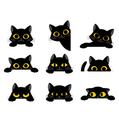set cute black cartoon cats with yellow eyes vector image