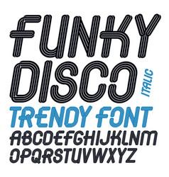 Set italic capital funky alphabet letters vector