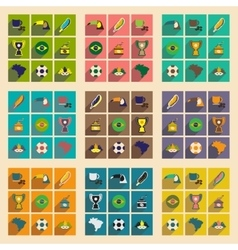 Set of flat icons with long shadow brazil vector