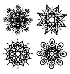 set simple mandalas for coloring floral concept vector image