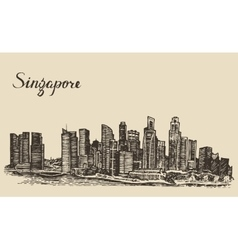 Singapore architecture hand drawn sketch vector image