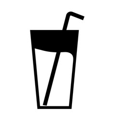 single liquid beverage icon with a straw vector image