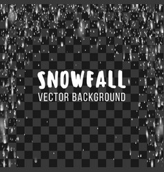 Snowfall on transparent background vector