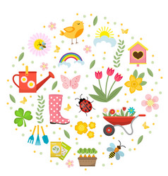 spring icons set in round shape flat style vector image