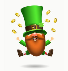 st patrick s day irish gnome with clover and beer vector image