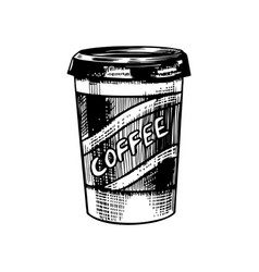 Take away cup coffee in vintage style vector