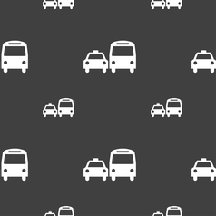taxi icon sign Seamless pattern on a gray vector image