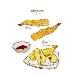 tempura japanese food set vector image