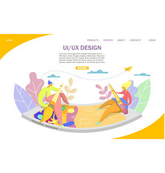 ui and ux website landing page design vector image