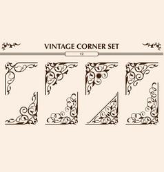 vintage corner set vector image