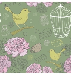Vintage floral pattern with bird cage peons vector