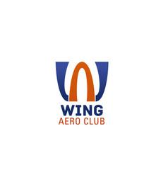 w letter icon for aero club vector image