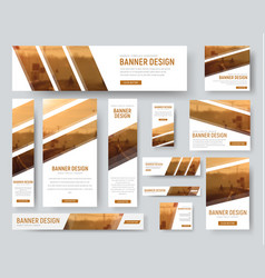 Web banners templates with diagonal stripes vector