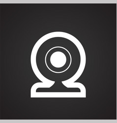 web camera on black background for graphic and web vector image