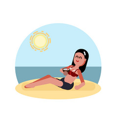 woman laying on beach with cocktail vector image