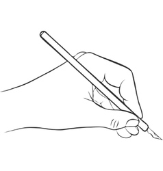 writing hand with ink pen vector image