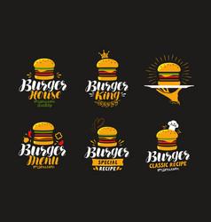american food logo burger cheeseburger vector image vector image