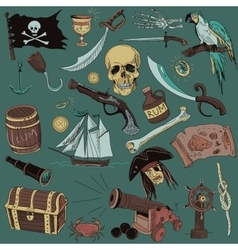 colored Pirates set Hand drawn vector image