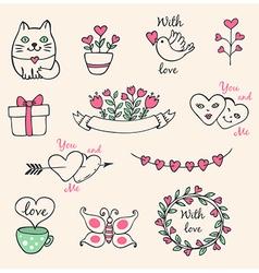 Hand drawn decorative Valentine elements vector image vector image