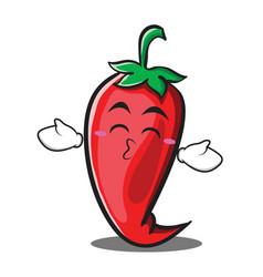 kissing closed eyes red chili character cartoon vector image