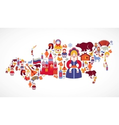 Russia map with icons vector image vector image