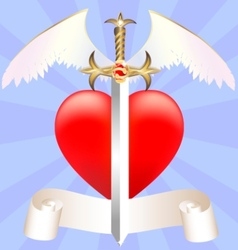 sword and heart vector image vector image