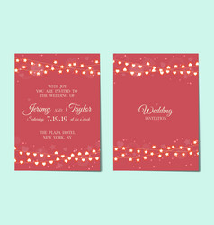 wedding invitation with light garlands vector image vector image