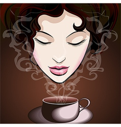 Woman enjoying coffee vector image vector image