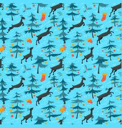 chirstmas seamless pattern with cute deers in vector image vector image