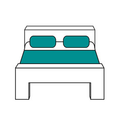 color silhouette image matrimonial bed with cover vector image vector image