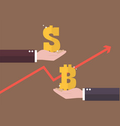 currency exchange dollar and bitcoin vector image vector image