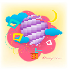 looking for fairy flying in a balloon in the sky vector image