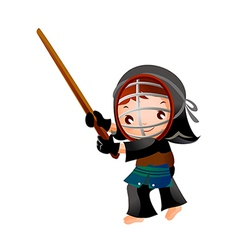 portrait of a girl in kendo fencer vector image