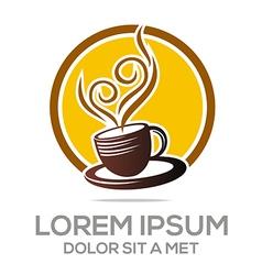 sketch of coffee cup logo hot chocolate granule vector image