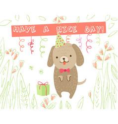 animal greeting card vector image vector image