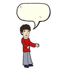 Cartoon man explaining with speech bubble vector