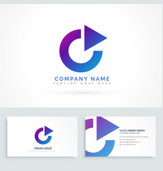 circle arrow triangle logo design with business vector image
