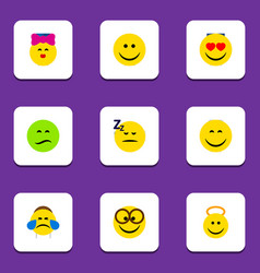 Flat icon gesture set of joy cold sweat smile vector