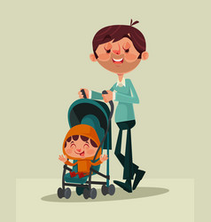 happy smiling father character mascot walking vector image vector image